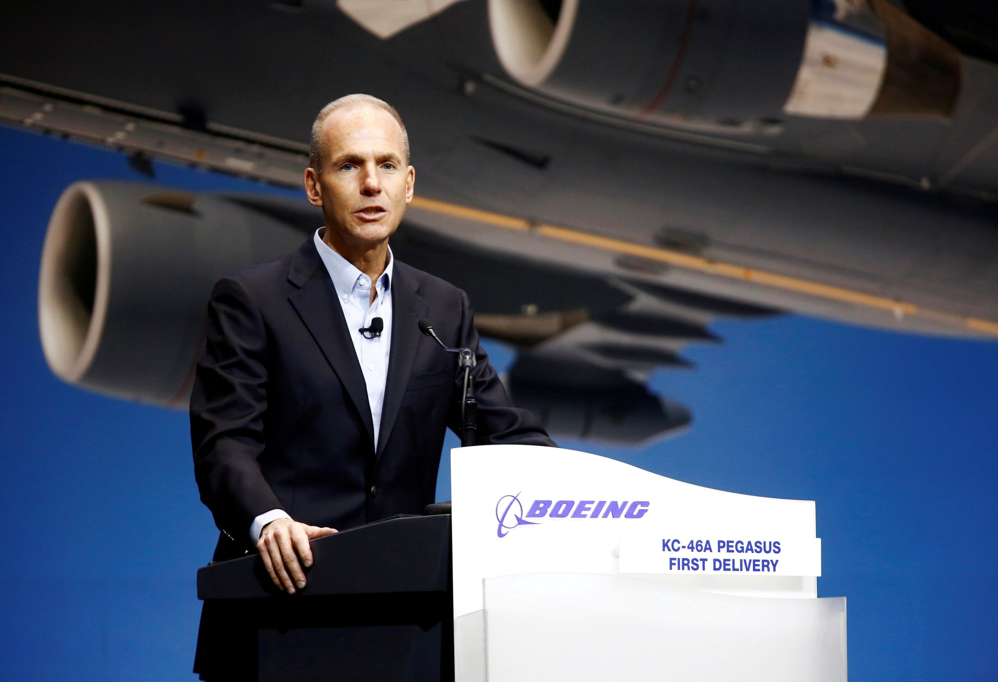 Boeing Chairman, President and CEO Dennis Muilenburg speaks during a delivery celebration of the Boeing KC-46 Pegasus aerial refueling tanker to the U.S. Air Force in Everett, Washington, in January. | REUTERS
