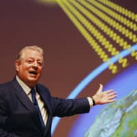 Former U.S. Vice President Al Gore speaks at a Tokyo event in relation to climate change on Thursday. | THE CLIMATE REALITY PROJECT