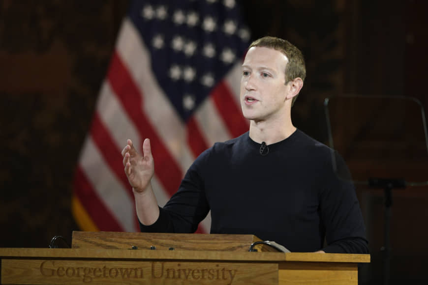 Facebook CEO Mark Zuckerberg speaks at Georgetown University in Washington Thursday. With just over a year left until the 2020 U.S. presidential election, Facebook is stepping up its efforts to ensure it is not used as a tool to interfere in politics and democracies around the world. Facebook said Monday it will also label state-controlled media as such, label fact -checks more clearly and invest $2 million in media literacy projects. | AP