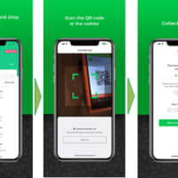 A graphic shows the process for withdrawing cash from registers in retail shops via a smartphone application offered by Singaporean fintech startup Socash Pte. Ltd. | JCB CO. / VIA NNA / KYODO