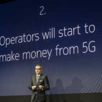 Rajeev Suri, president and chief executive officer of Nokia Corp., speaks during a briefing in Barcelona, Spain, in February. | BLOOMBERG