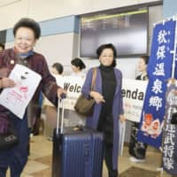 Travelers arrive at Sendai Airport on Wednesday as regular direct flights linking the city and Bangkok resumed after a hiatus of five and a half years. | KYODO