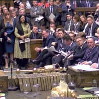 British Prime Minister Boris Johnson speaks at the House of Commons as Parliament discusses Brexit, sitting on a Saturday for the first time since the 1982 Falklands War, in London Oct. 19 in this screen grab taken from video.   PARLIAMENT TV / VIA REUTERS