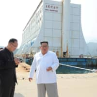 North Korean leader Kim Jong Un inspects the Mount Kumgang tourist resort in North Korea in this undated picture released by North Korea's Central News Agency (KCNA) on Wednesday.   KCNA / VIA REUTERS