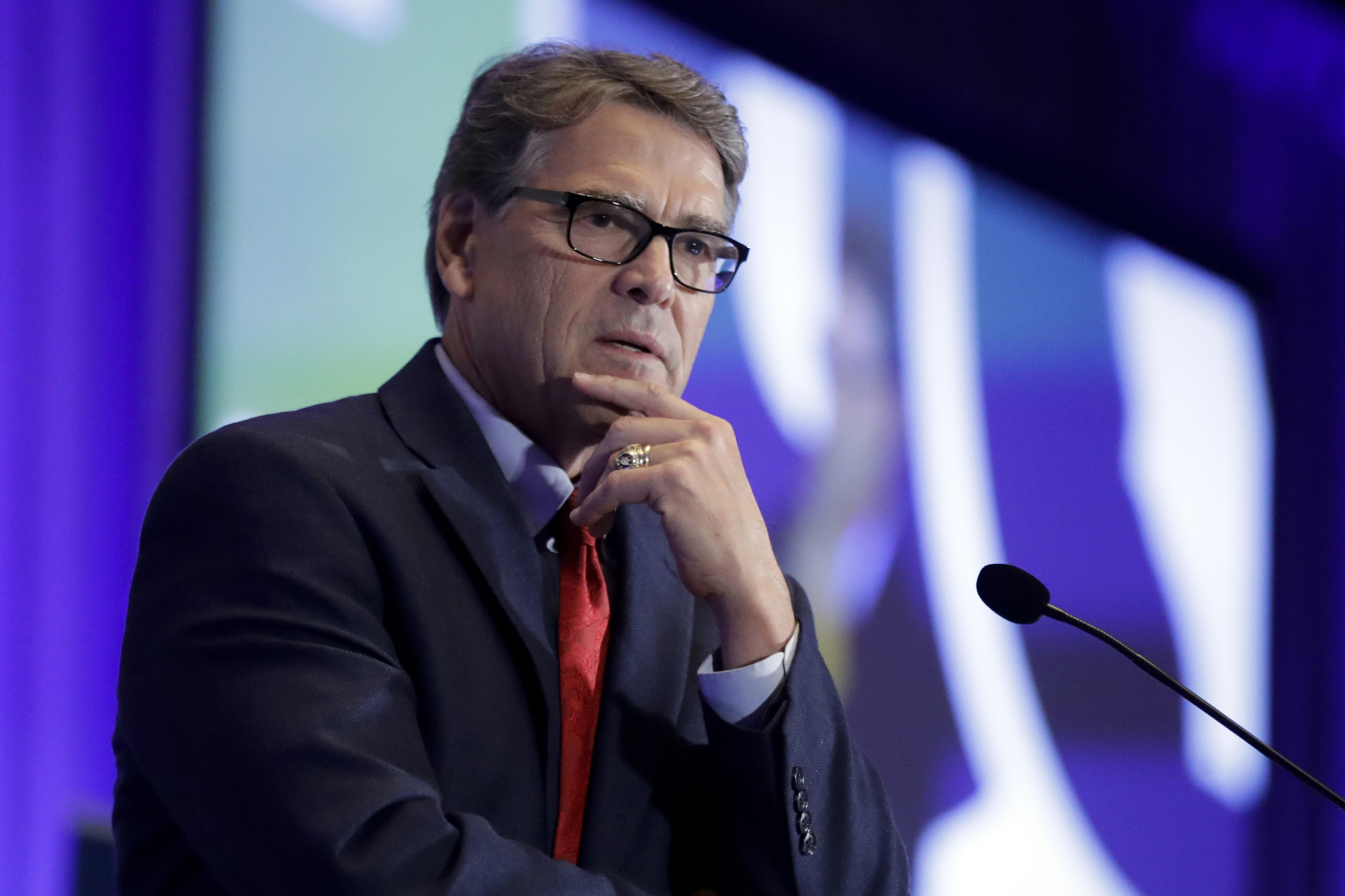 Energy Secretary Rick Perry speaks at the California GOP fall convention in Indian Wells, California, in September.   AP