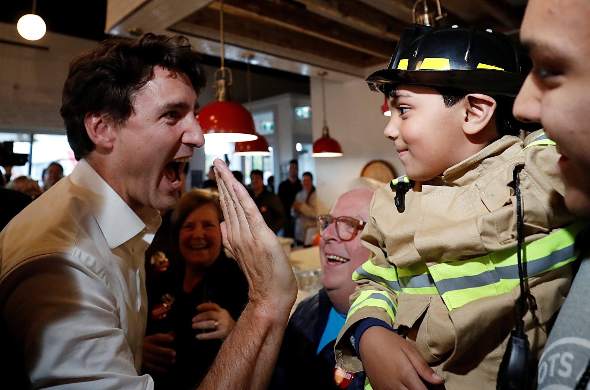 Liberal leader and Canadian Prime Minister Justin Trudeau attends an election campaign visit to Cambridge, Ontario, Monday.   REUTERS