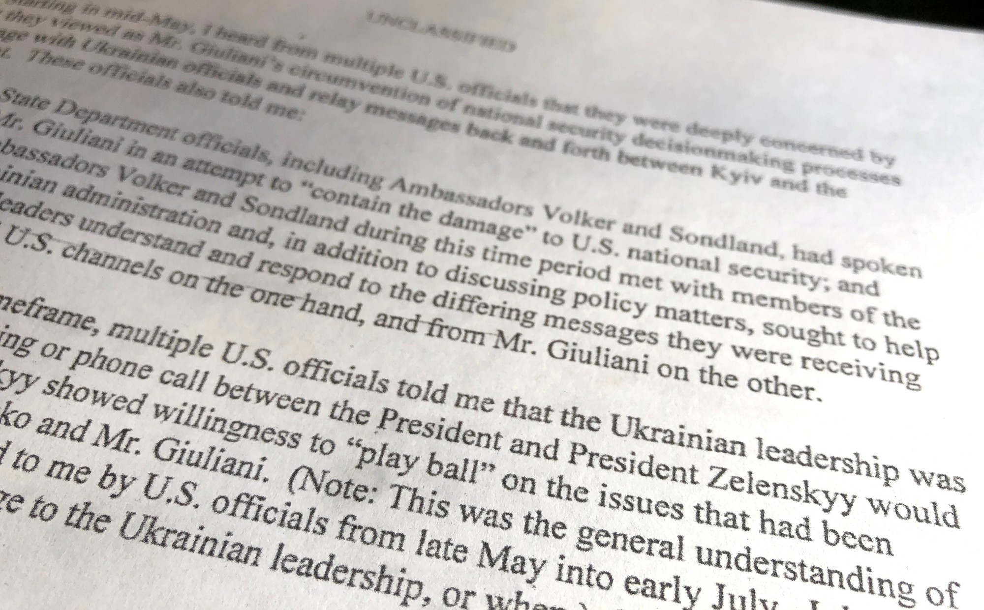 A section of the report from the U.S. intelligence community whistleblower to the U.S. House Intelligence Committee where the whistleblower refers to whether Ukrainian President Volodymyr Zelenskiy would 'play ball' is seen after being released by the committee in Washington Sept. 26. | REUTERS
