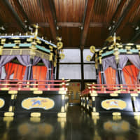 Emperor Naruhito and Empress Masako will sit atop the takamikura (left) and michōdai (right) thrones, respectively, in octagonal structures placed atop elaborately decorated square daises during the Sokui no Rei ceremony on Tuesday. | KYODO
