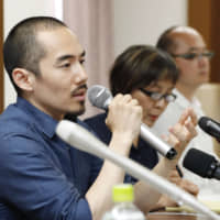 Director Miki Dezaki speaks in June during a news conference regarding his controversial film 'Shusenjo: The Main Battleground of the Comfort Women Issue.' | KYODO