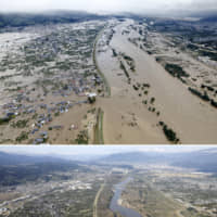 Top: A residential area in Nagano is flooded on Oct. 13 after the Chikuma River overflowed during Typhoon Hagibis. Above: The area is shown four days later. | KYODO