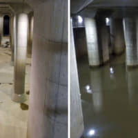 Left: The Metropolitan Area Outer Underground Discharge Channel in Kasukabe, Saitama Prefecture, is credited for easing flood risks from rivers east of the prefecture during Typhoon Hagibis. Right: Rainwater fills the ¥230 billion channel on Oct. 14, when the typhoon hit central Japan. | COURTESY OF LAND, INFRASTRUCTURE, TRANSPORT AND TOURSM MINISTRY'S EDOGAWA RIVER OFFICE / VIA KYODO