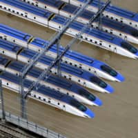 A Hokuriku Shinkansen train yard is seen flooded due to heavy rains caused by Typhoon Hagibis in the city of Nagano on Oct. 13.   REUTERS