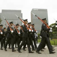 A parade rehearsal for Emperor Naruhito's upcoming enthronement ceremony is held on Sunday in Tokyo.  | KYODO