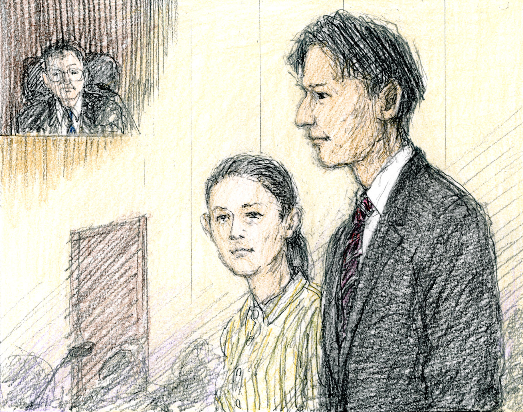 A courtroom sketch shows Junnosuke Taguchi, a former member of boy-idol group Kat-tun, and his partner Rena Komine, a former actress, attending a trial at the Tokyo District Court on Monday. | KYODO