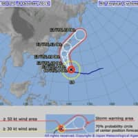 This map from the Meteorological Agency shows the projected course of Typhoon No. 19, which is likely to hit Japan on Saturday or Sunday. | JAPAN METEOROLOGICAL AGENCY