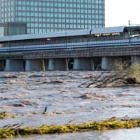 A view of Tama river, which reached flood risk levels Saturday night during the onslaught of Typhoon Hagibis.