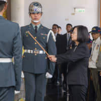Taiwan President Tsai Ing-wen attends a ceremony Tuesday commemorating the 70th anniversary of the Battle of Guningtou on the island of Kinmen. The battle halted China's efforts to take the island during the 1949 Chinese civil war. | AFP-JIJI