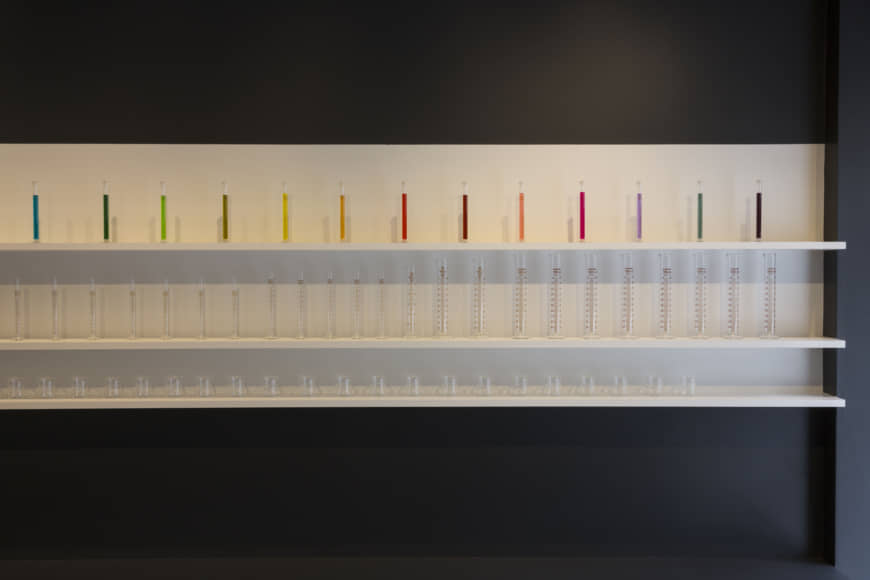 One drop at a time: At Inkstand by Kakimori, the shop staff measure out and mix the ink with pipette, beaker and graduated cylinder, like some laboratory experiment.   RYOICHI OKAZAKI