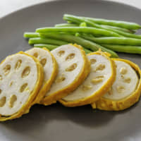 Mustard-miso-stuffed lotus root: Crunchy, with a distinctive bite