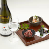 Meat and greet: At the upcoming Nihonshu Matsuri inside the Nihonbashi Takashimaya Shopping Center, three wagyu beef dishes from Yakiniku Yazawa come paired with a glass of Nihonshu Oendan's high-grade sake. | COURTESY OF TAKASHIMAYA