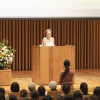 Misia talks about her experiences in Africa during a lecture at Fukuoka's Seinan Gakuin University — where the singer is an alumna of — on July 26. | ©RHYTHMEDIA INC.