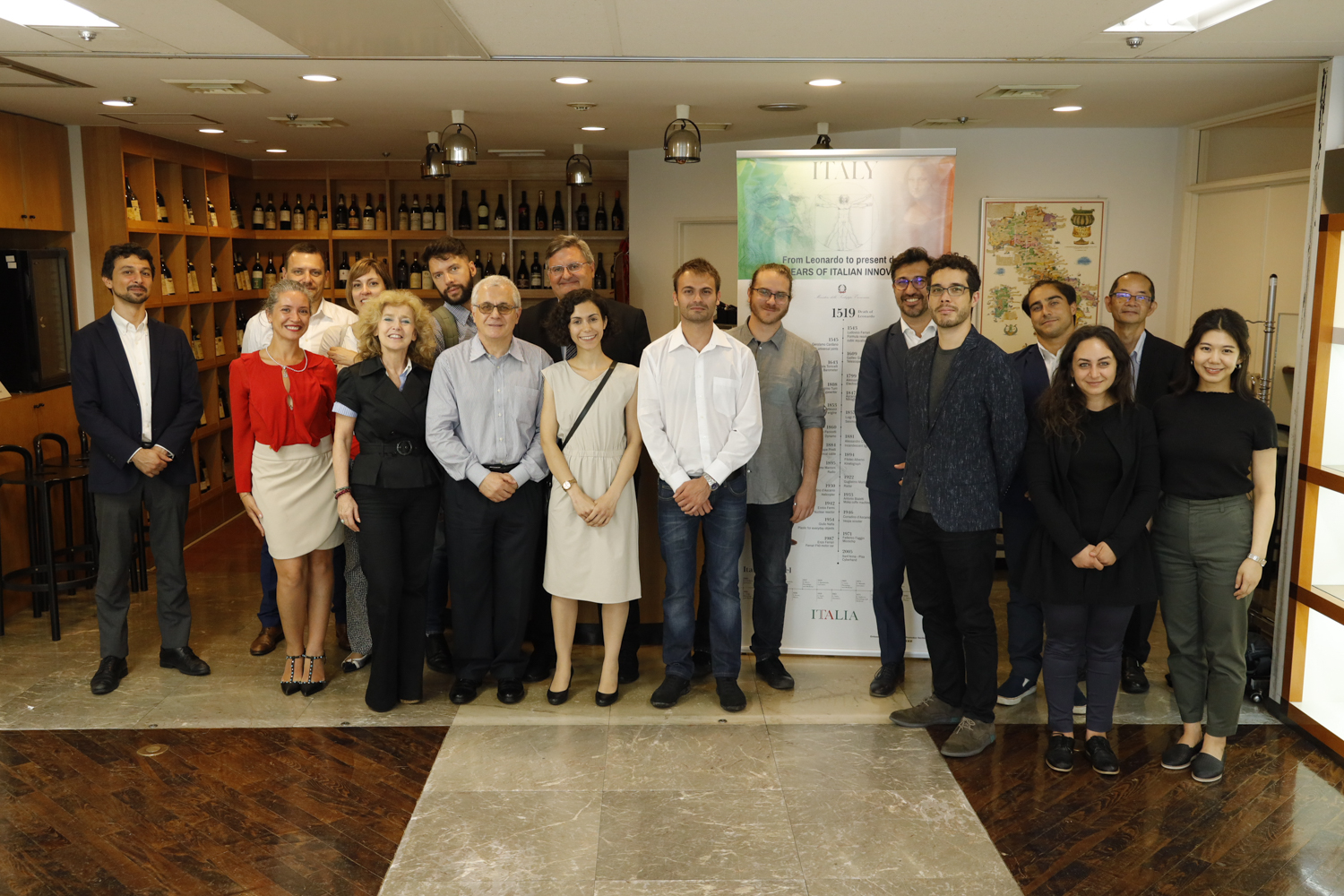 Representatives from eight Italian startups at a pre-induction day on July 15 at the Italian Embassy in Minato Ward | ITALIAN TRADE AGENCY