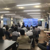 Participants listen to a lecture given by an Italian entrepreneur as part of the Global Startup Program in Fukuoka on Aug. 28. | ITALIAN TRADE AGENCY