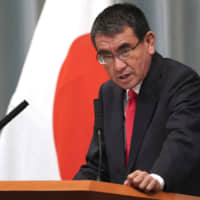 Taro Kono, the most influential politician ever to lead the Defense Ministry, is a top candidate for post-Abe leadership. | AP