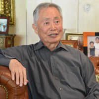 Remembering the past: Actor George Takei, at his home in Los Angeles, talks about his family's experience at internment camps in the U.S. during World War II. | KYODO