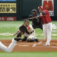 Hideto Asamura powers Eagles past Hawks in opening game of Pacific League Climax Series
