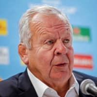 World Rugby chairman Bill Beaumont speaks at a news conference on Tuesday in Tokyo. | REUTERS