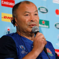 England head coach Eddie Jones speaks at a news conference in Tokyo on Thursday to announce his team for the Rugby World Cup final against South Africa on Saturday night in Yokohama. | AFP-JIJI