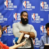 Houston Rockets guard James Harden speaks to local media after the team's practice session in Tokyo on Wednesday. | AFP-JIJI