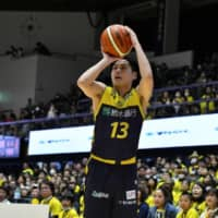 Brex guard Hironori Watanabe, seen in a February file photo, was one of six Utsunomiya players to reach double figures in points on Saturday against the visiting SeaHorses. Watanabe finished with 13 points in a 92-86 victory over Mikawa. | B. LEAGUE