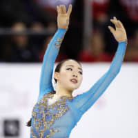 Rika Kihira performs her free skate during Skate Canada on Saturday. Kihira earned silver at the event. | KYODO