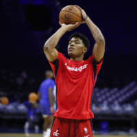 Wizards rookie Rui Hachimura warms up before a preseason game against the 76ers on Friday in Philadelphia.   AP