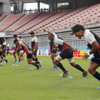 Japan's players train during the team's captain's run on Friday at City of Toyota Stadium. | KYODO