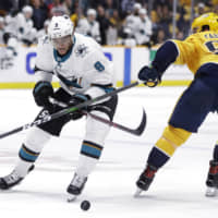 Sharks' Evander Kane notches hat trick in first period in triumph over Hurricanes