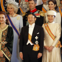 Crown Prince Naruhito and Crown Princess Masako with other guests following the coronation of Dutch King Willem-Alexander at the Royal Palace in Amsterdam on April 30, 2013. | POOL / VIA AP  / VIA KYODO