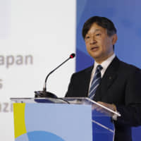 Crown Prince Naruhito delivers a speech at the World Water Forum in Brasilia on March 19, 2018. | KYODO