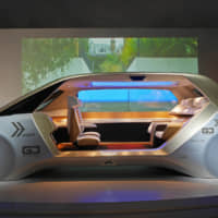 The interior of Panasonic Corp.'s futuristic SPACe_L car can be changed to different modes, including 'Living Room,' 'Business,' 'Relax' and 'Entertainment.' It will be displayed in the Future Expo area.   JAPAN AUTO MANUFACTURERS ASSOCIATION