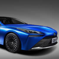 The Mirai concept car is a fuel cell electric vehicle powered by hydrogen.