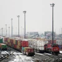 Trains are seen in the yard at the CN Rail Brampton Intermodal Terminal after Teamsters Canada union workers and Canadian National Railway Co. failed to resolve contract issues, in Brampton, Ontario,  Nov. 19. | REUTERS