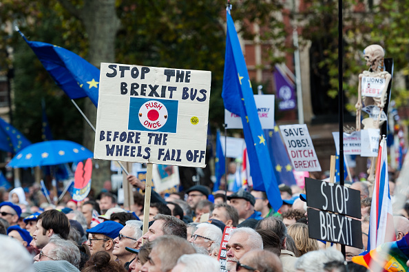 Anti-Brexit protesters take part in rally titled 'Together for the Final Say' in Parliament Square, London, on Oct. 19. | NURPHOTO VIA GETTY IMAGES
