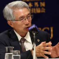 Junichiro Hironaka, lawyer for former Nissan Chairman Carlos Ghosn, speaks at a news conference in Tokyo on Nov. 11. | AFP-JIJI