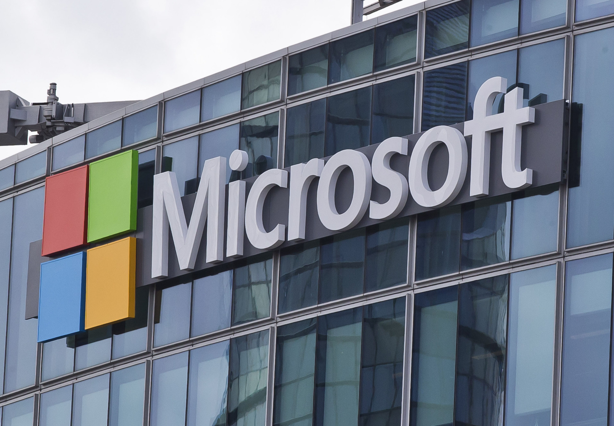 The Microsoft logo is seen in 2016 in Issy-les-Moulineaux, outside Paris. | AP