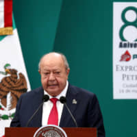 Carlos Romero Deschamps, leader of the oil workers union of Petroleos Mexicanos (Pemex), delivers a speech during the 80th anniversary of the expropriation of Mexico's oil industry in Mexico City last year. | REUTERS
