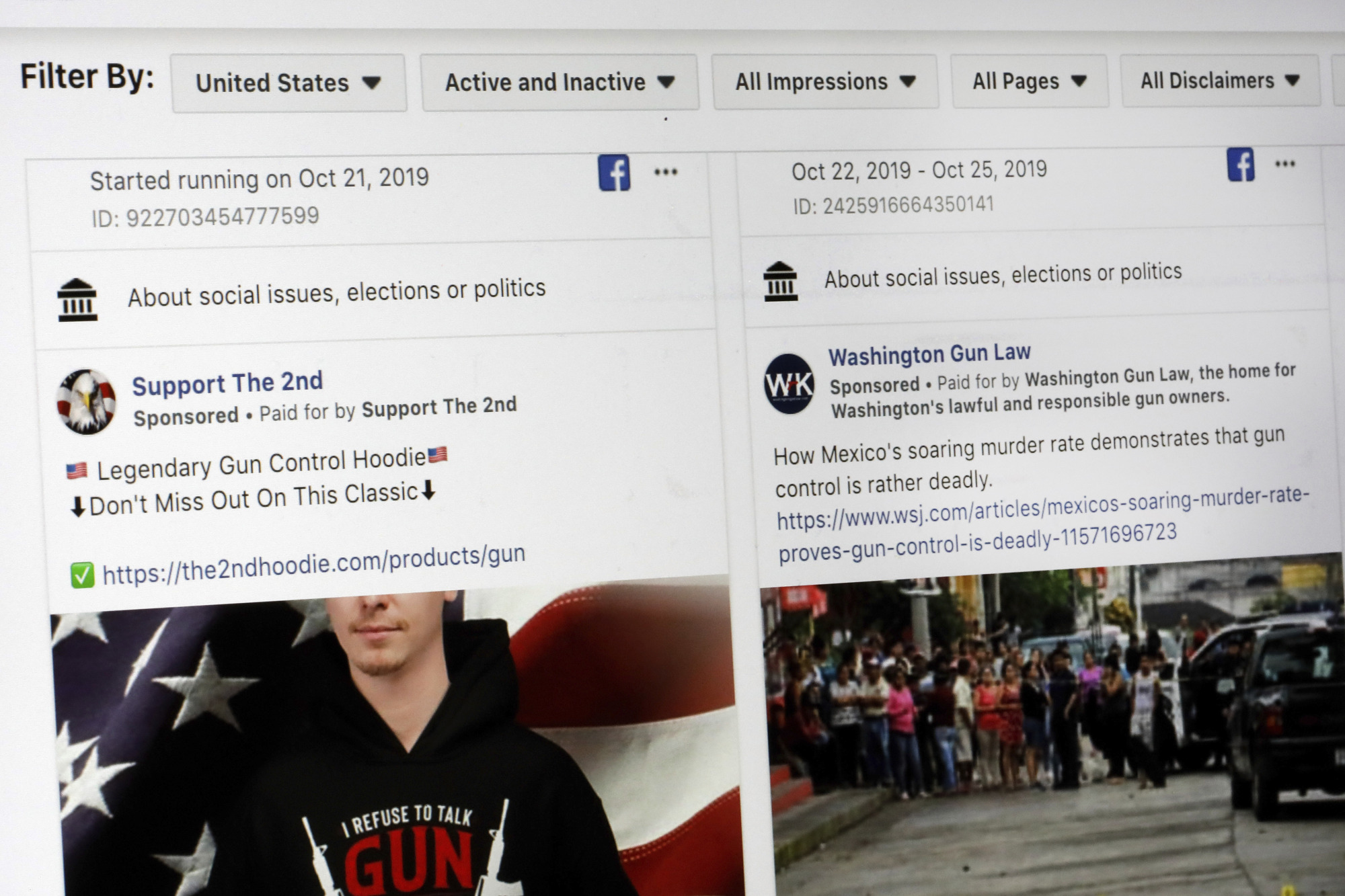 This photo shows a search for political ads that were on Facebook displayed on a computer screen Thursday in New York. Twitter's ban on political advertising is ratcheting up the pressure on Facebook and Mark Zuckerberg to follow suit. Zuckerberg doubled down on Facebook's approach in a call with analysts Wednesday as he reiterated Facebook's stance that 'political speech is important.' | AP
