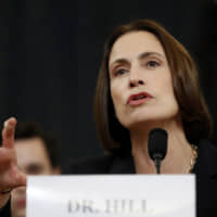 Former White House national security aide Fiona Hill testifies before the House Intelligence Committee on Capitol Hill in Washington Thursday during a public impeachment hearing of President Donald Trump's efforts to tie U.S. aid for Ukraine to investigations of his political opponents. | AP