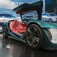 A DS X E-Tense concept vehicle is displayed at the Shanghai Auto Show on April 17. | BLOOMBERG